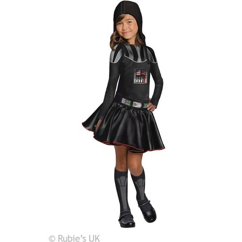 Childs Darth Vader Girls Star Wars Official Licensed Fancy Dress Costume Age 5-7 Year