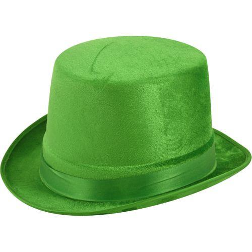 Green Velour Top Hat Fancy Dress Costume Accessory