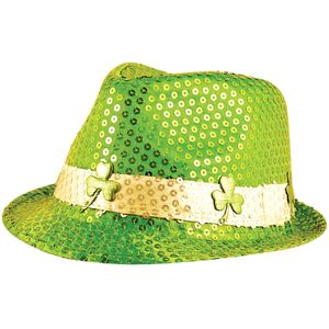 Sequin Gangster Trilby Hat (Green Shamrock)