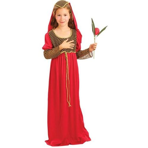 Childs Medieval Juliet Fancy Dress Costume Red Age 5-7 Years