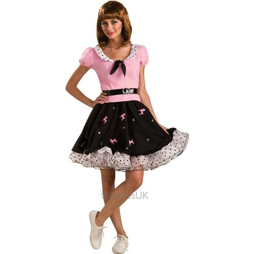 50`s 1950`s Suzie Q Black & Pink Costume Outfit Skirt Rocker