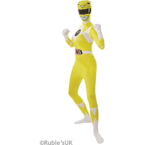 Official Yellow Power Ranger Second Skin Fancy  Dress Costume Size L 16-18