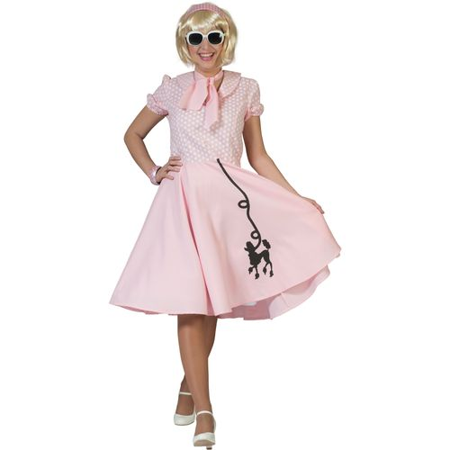 Fifties Pink Poodle Dress Fancy Dress Costume Size 10-14