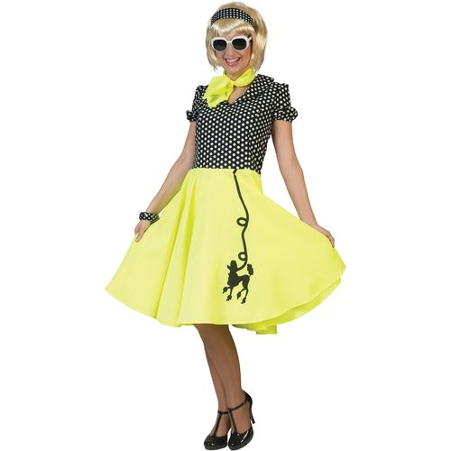 Fifties Yellow and Black Poodle Dress Fancy Dress Costume Size 10-14