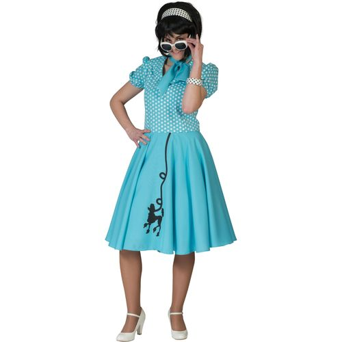 Fifties Blue Poodle Dress Fancy Dress Costume Size 10-14