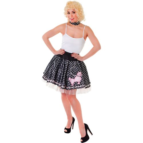 1950`s Black & White Rock and Roll Poodle Fancy Dress Skirt & Neck Scarf