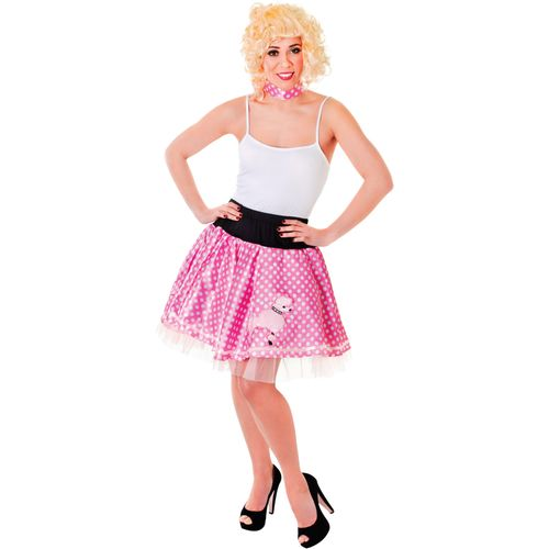 1950`s Pink & White Rock and Roll Poodle Fancy Dress Skirt & Neck Scarf