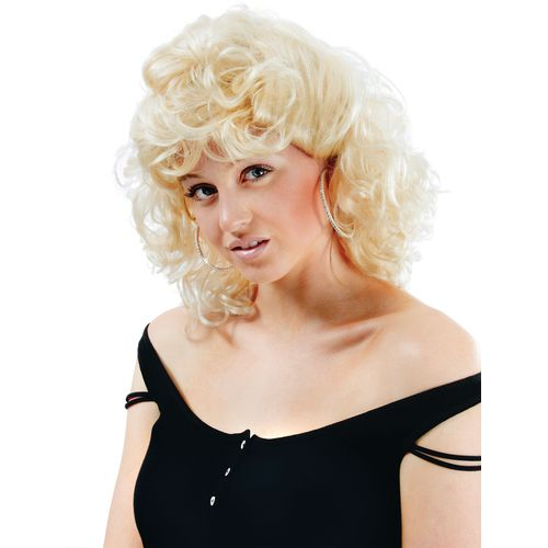 1950`s 50`s Blonde Curly Fancy Dress Wig