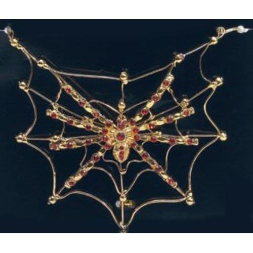 fancy dress and halloween costume accessory Spider On Web Necklace