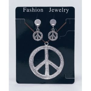 Peace Sign Set Clip On Earrings & Necklace