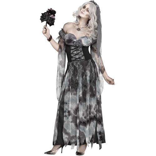 Ladies Cemetery Bride Halloween Fancy Dress Costume Size 10-12