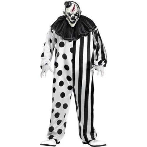 Killer Clown Black & White Halloween Fancy Dress Plus Size Costume Size XL