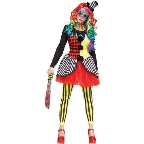 Freak Show Clown Lady Halloween Fancy Dress Costume Size 12-14