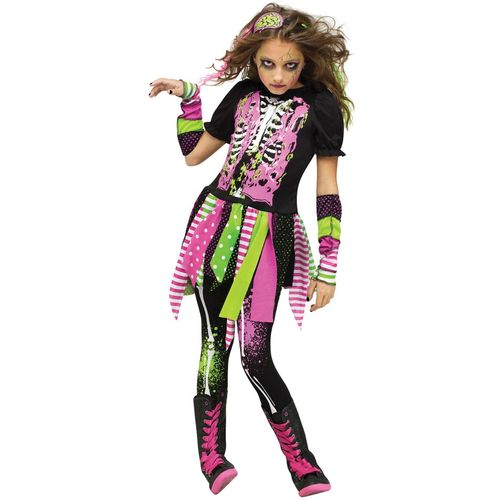 Childs Neon Zombie Girl Halloween Fancy Dress Costume Age 4-6 Years
