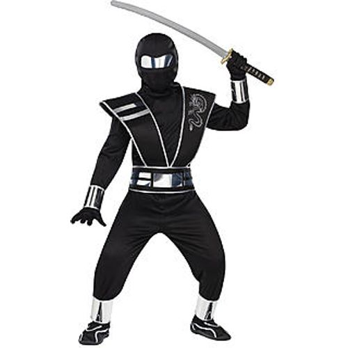 Childs Black Mirror Ninja Halloween Fancy Dress Costume Age 4-6 Years