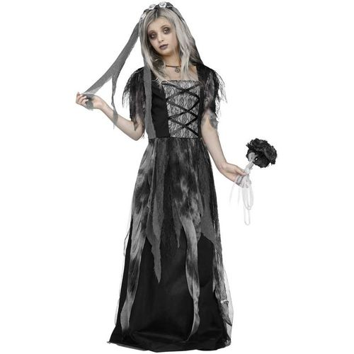 Childs Cemetery Bride Halloween Fancy Dress Costume Age 12-14 Years