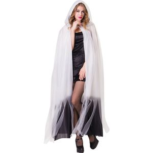 Ladies Hooded Cape (White & Black Ombre)