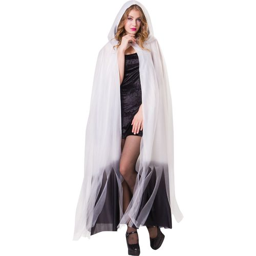 Ladies Hooded Cape White & Black Ombre Halloween Fancy Dress Costume