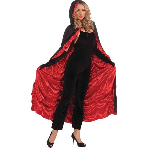 Deluxe Coffin Cape (Black & Red) One Size Fits Most Halloween Fancy Dress Accessory
