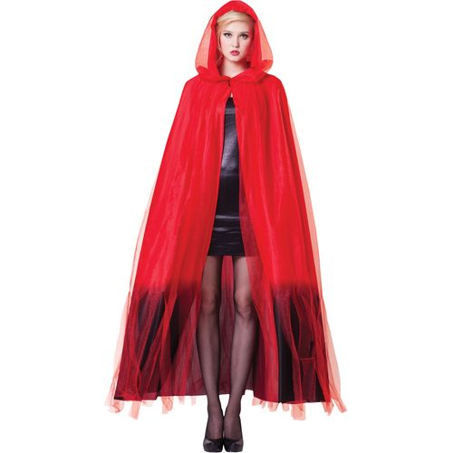 Ladies Hooded Cape Red & Black Ombre Halloween Fancy Dress Costume Accessory