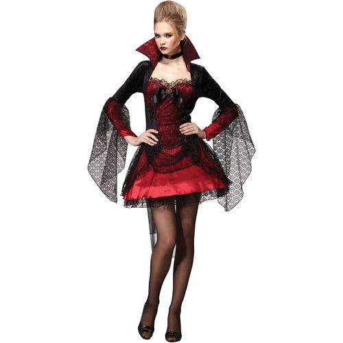 Vampiress Dark Mistress Red Black Halloween Fancy Dress Costume Size 10-14
