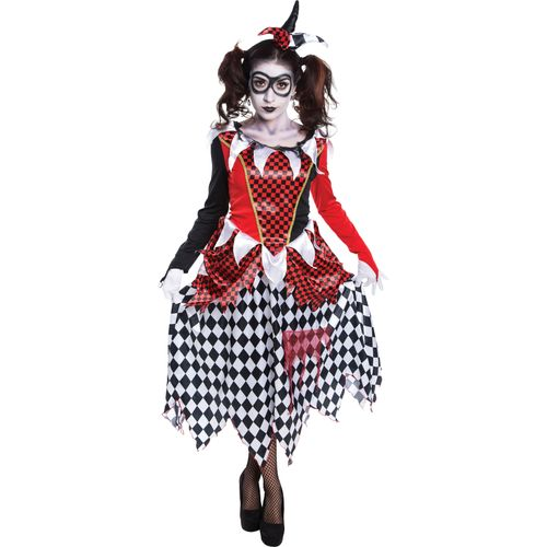 Harlequin Evil Girl Fancy Dress Halloween Costume Size 8-10