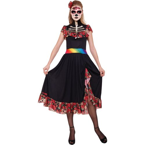 Day of the Dead Lady Halloween Fancy Dress Costume Size 10-12
