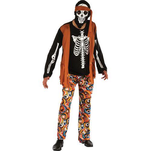 Skeleton Hippy Halloween Fancy Dress Costume Size M-L
