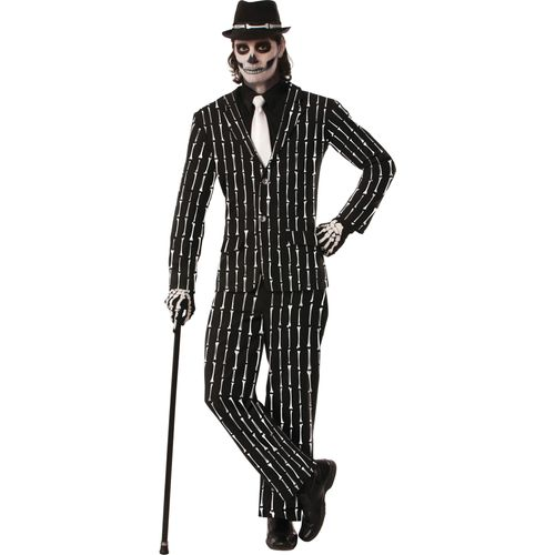 Bone Pin Stripe Skeleton Mens Halloween Fancy Dress Costume Outfit One Size Fits Most