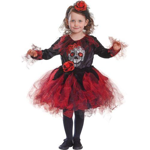 Childs Skull Tutu Red & Black Halloween Fancy Dress Costume Age 6 Years