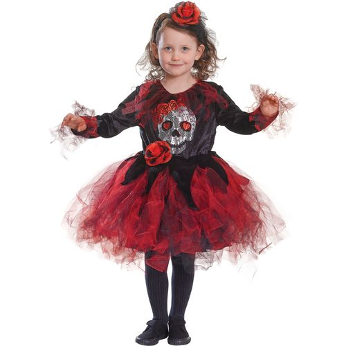 Childs Skull Tutu Red & Black Halloween Fancy Dress Costume Age 8 Years
