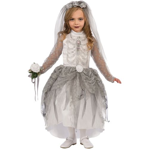 Childs Skeleton Bride Halloween Fancy Dress Costume Age 9-11 Years