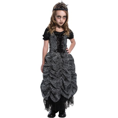 Childs Spider Coffin Princess Age 5-7 Years Halloween Fancy Dress Costume
