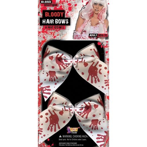 Bloody Hair Bow Clips 2 Pack Halloween Fancy Dress Costume Accessory
