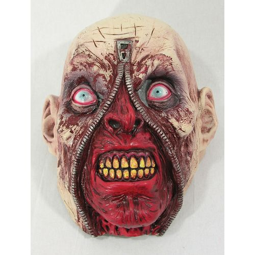 Zipper Zombie Latex Face Mask Halloween Fancy Dress Costume  Accessory