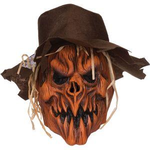 Scarecrow Pumpkin Skull Latex Overhead Mask & Felt Hat