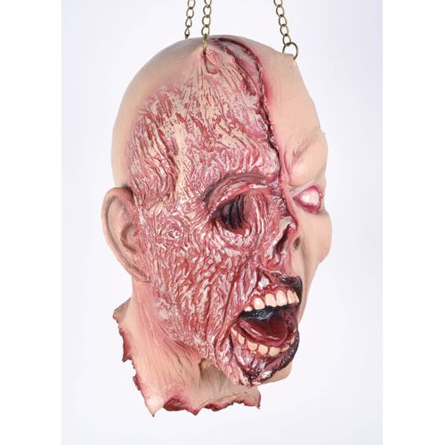 Burnt Face Hanging Head Party Fancy Dress Halloween Accessory Scary Horror
