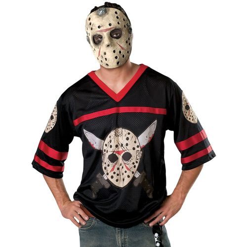 Jason Voorhees Hockey Mask & Shirt  Halloween Fancy Dress Costume Size XL