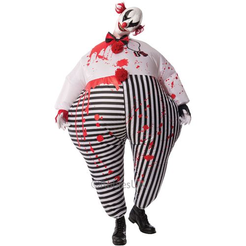 Inflatable Horror Clown Costume & Mask Halloween Fancy Dress Costume Size M-L