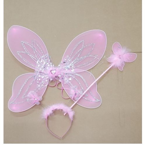 Childs Fairy Fancy Dress Costume Accessory Set Pink Wings Headband & Wand