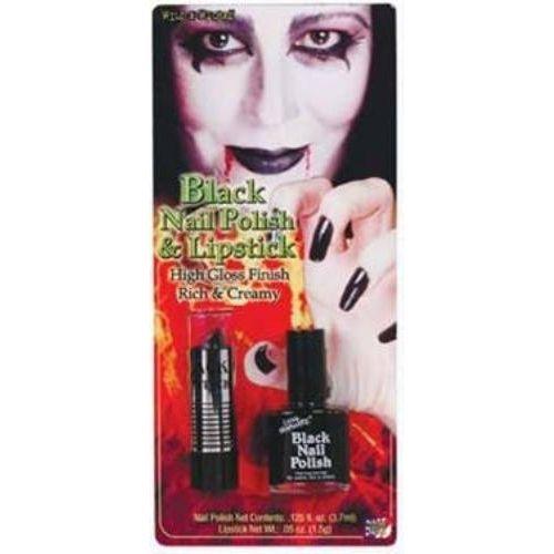 Black Nail Polish & Lipstick Set Halloween and Fancy Dress Costume Accessory