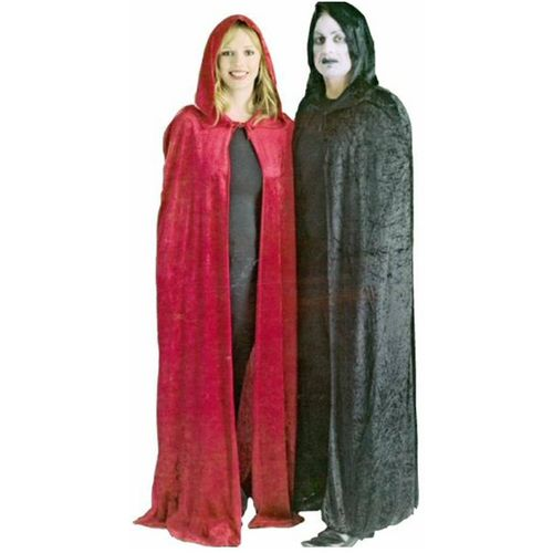 Black Velour Hooded Cape Halloween Fancy Dress Ex Hire Sale Costume