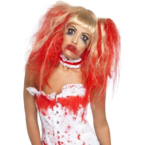 Blonde & Red Blood Drip Wig Halloween Fancy Dress Costume Accessory