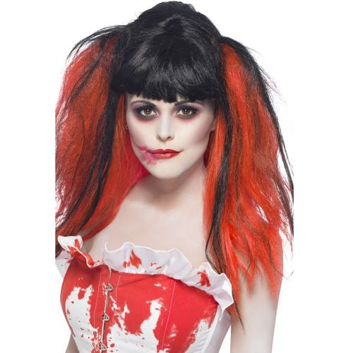 Black & Red Blood Drip Wig Halloween Fancy Dress Costume Accessory