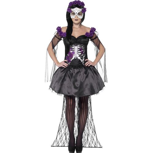 Day of the Dead Senorita Halloween Fancy Dress Costume Size 16-18