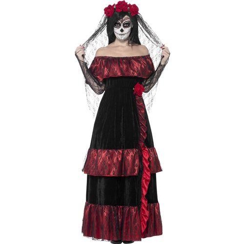 Day of the Dead Bride Halloween Fancy Dress Costume Size 16-18