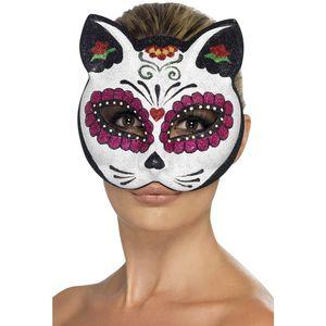 Day of the Dead Sugar Skull Cat Half Face Mask