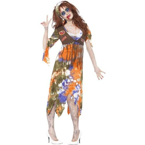 Zombie 60's Hippie Lady Halloween Fancy Dress Costume Size 16-18
