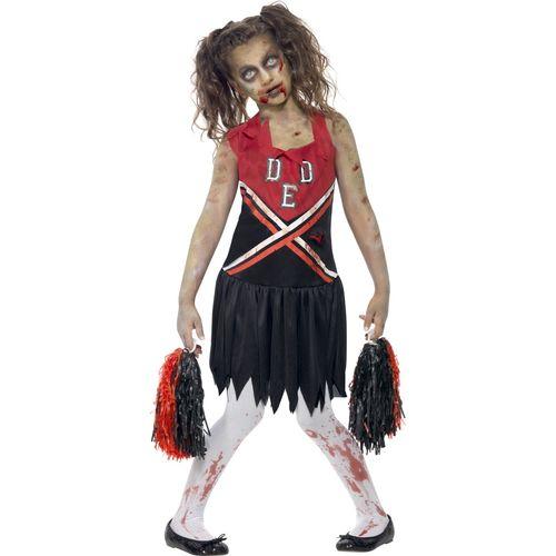Zombie Cheerleader Halloween Fancy Dress Costume Red & Black Teen Size 12+