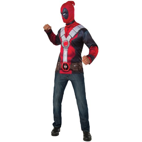 Official Classic Deadpool Top Fancy Dress Size M-L